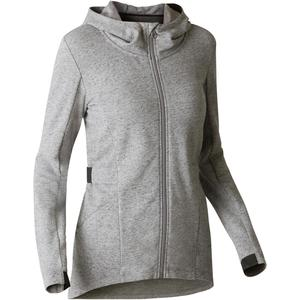 Kapuzenjacke lang 500 Gym Stretching Damen grau