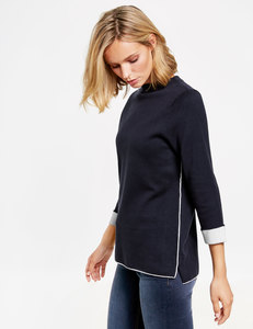 3/4 Arm Pullover Funnel Neck
