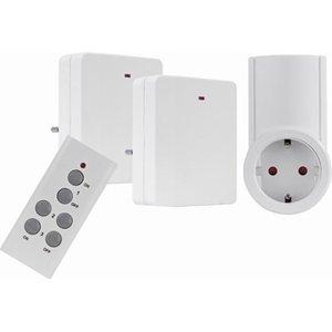 Funkschaltsteckdosen-Set Weiß extra flach