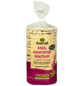 Alnatura Bio Mais Amaranth Waffeln mit Reis & Leinsamen 115 g