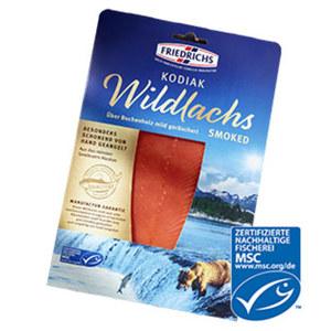 Friedrichs Kodiak Wildlachs aus MSC-zertifiziertem Fischfang, festes, rotes Fleisch, fein geräuchert,   fein geräuchert, jede 100-g-Packung