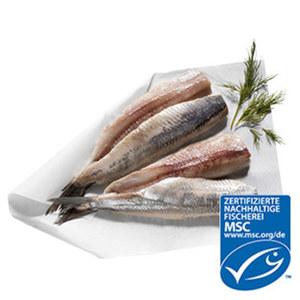 Matjesdoppelfilet aus MSC-zertifiziertem Wildfang, eine holländische Spezialität, vor Verkauf getaut, je 100 g