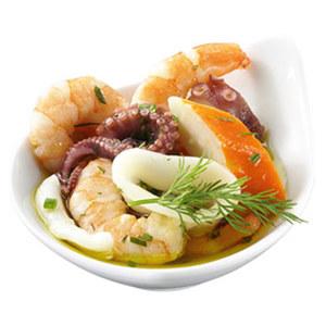 Cocktailsalat Marseille Klarer Salat mit Tintenfisch, Riesengarnelen und Surimi, je 100 g