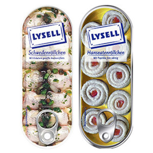 Lysell Gekühlte Fischfeinkost Hanseaten- oder Schwedenröllchen und weitere Sorten, jede 125/90-g-Dose/75/90/65 g Abropfgewicht