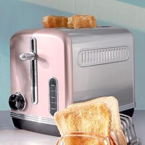 Elta Retro-Toaster, Edelstahl, 27 x 21 x 16 cm, rosa/silber