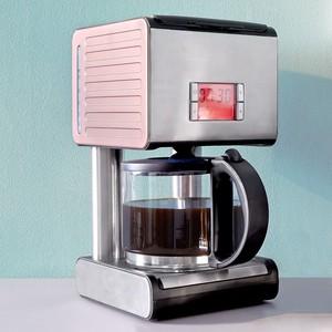 Elta Retro-Kaffeemaschine, Edelstahl, rosa/silber