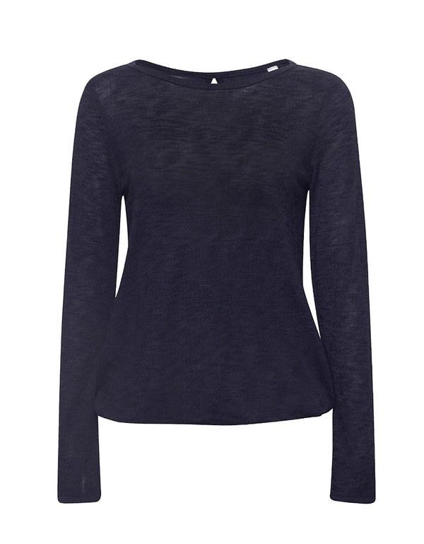 Esprit - Langarmshirt aus meliertem Slub-Jersey