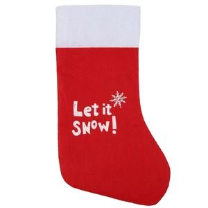 Filzstiefel Let it snow!, 26 x 39 cm, rot/weiß