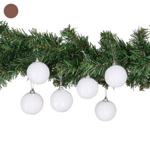 Weihnachtskugeln, Pailletten, 6er-Pack, weiß