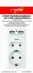 Heitech 2-fach Steckdosenadapter mit 2 USB Ladeanschlüssen