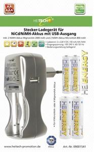 Heitech Stecker-Ladegerät mit USB-Ausgang