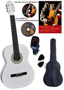 CLIFTON Konzertgitarre 4 4, White,