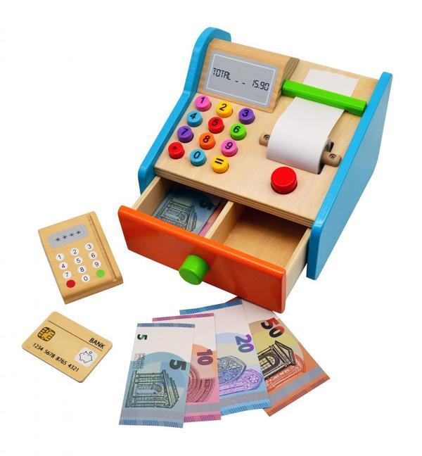 Coemo Spielkasse aus Holz mit Zubehör