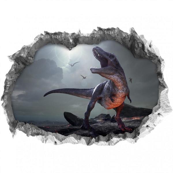 Wandtattoo 3D T-Rex mehrfarbig