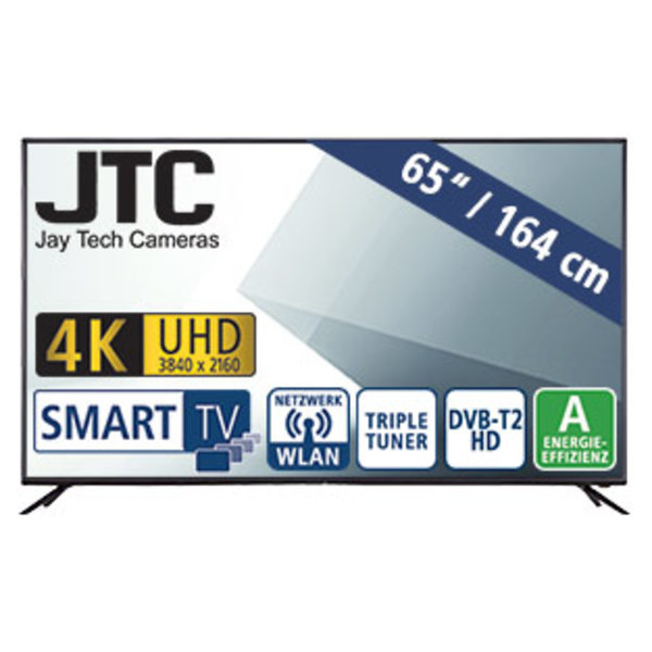 "65""-Ultra-HD-LED-TV Atlantis 6.5 UHD • 3 HDMI-/USB-Anschlüsse, CI+ • Stand-by: 0,41 Watt, Betrieb: 149 Watt • Maße: H 84,3 x B 146,1 x T 8,5 cm • Energie-Effizienz A (Spektrum A++ bis E)"