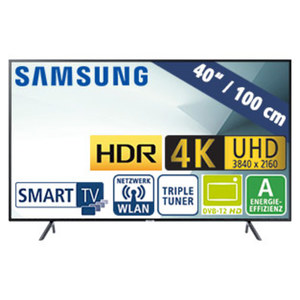 "40""-Ultra-HD-LED-TV UE40NU7199 • HbbTV • 3 HDMI-Eingänge, 2 USB-Anschlüsse, CI+ • 20 Watt RMS • Stand-by: 0,5 Watt, Betrieb: 63 Watt • Maße: H 53,1 x B 91,3 x T 5,8 cm • Energie-Effizi"