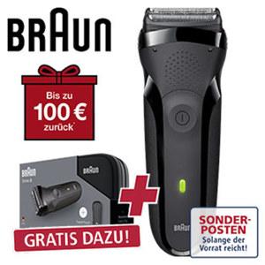 Rasierer Series 3-300s • 3-fach-Schersystem • Mitteltrimmer für Konturenanpassung • Schnelllade-Funktion • 100 % wasserdicht (bis 5 m)
