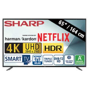 "65""-Ultra-HD-LED-TV LC-65UI7252E • HbbTV • 3 HDMI-/2 USB-Anschlüsse, USB 3.0, CI+ • SD-Kartenslot • 2 x 10 Watt RMS + 15 Watt RMS Subwoofer • Stand-by: 0,5 Watt, Betrieb: 118 Watt • Maß"