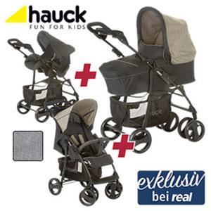Kinderwagen-Kombi-Set inkl. Babywanne, Autositz und Shopperwagen, Ablage für Getränke am Schiebegriff, großer Einkaufskorb