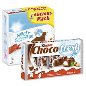 Milchschnitte 7 x 28 = 196 g oder Kinder Choco fresh 5 x 21 = 105 g, jede Packung
