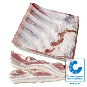 Frischer Schweinebauch mit Knochen, am Stück, küchenfertig zugeschnitten,  je 1 kg