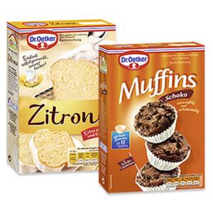 Dr. Oetker Backmischung Zitronen Kuchen oder Schoko Muffins und weitere Sorten, jede Packung