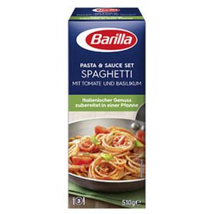 Barilla Koch-Set für Spaghetti Tomate und Basilikum oder für Spaghetti Bolognese jede Packung