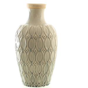 Dragimex, Deko-Vase, creme/grau, 19,5 Ø x 36,5cm H, 57327