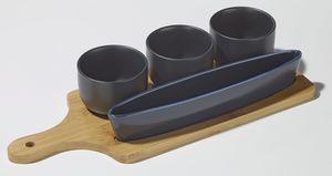 Villa Noblesse  Servier-Set, strapazierfähiges Porzellan auf Bambusplatte