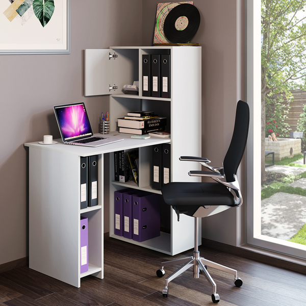Schreibtisch Work 144 X 114 Cm Weiß Regalkombination Regal