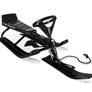 Monzana Lenkschlitten | Schlitten für Kinder | bis 75 kg | Bremse | Zugseil | Kufen | Farbe: schwarz | Bob