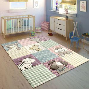 Kinderteppich Kinderzimmer Konturenschnitt Lustige Tiere Bunt Pastellfarben, Grösse:120x170 cm