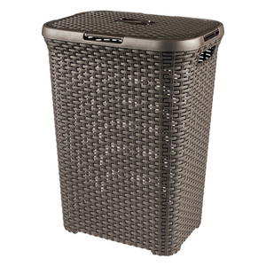 CURVER Wäschebox 60l in Rattan-Optik, Farbe Braun