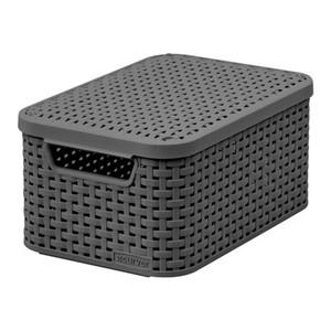 Curver Style Rattan Kunstoff Speicher Korb mit Deckel, Größe S, 8 L, Grau, EF505637