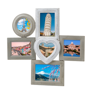 Villa Noblesse Deko-Bilderrahmen H 44,5 x B 43,5 x T 3,5 cm für 6 Fotos, Holz