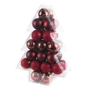 Weihnachtsbaumkugeln 34er-Set 6cm Bordeaux