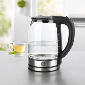 FCB Glas-Wasserkocher LED-Farbwechsel 1850W Edelstahl mit Logo