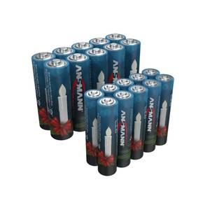 Alkaline Batterien für Weihnachtsbeleuchtung - 20er Mix Box mit 10 x Micro und 10 x Mignon Ansmann
