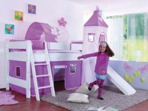 Spielbett KIM mit Rutsche / Turm, Buche massiv, weiß, 90 x 200 cm