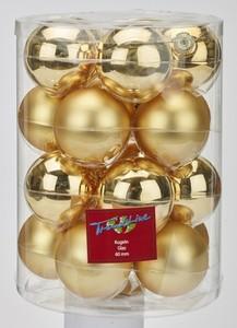 TrendLine Glaskugeln ,  uni glanz/matt, 60 mm, hellgold