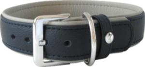Das Lederband Hundehalsband Amsterdam, Navy / Grey, Breite 25 mm / Länge 45 cm