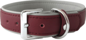 Das Lederband Hundehalsband Amsterdam, Merlot / Grey, Breite 25 mm / Länge 35 cm