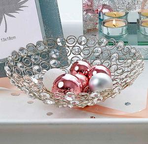 Kristall-Schale mit Dekosteinen, Ø ca. 22cm