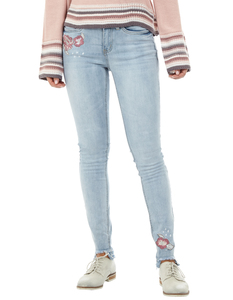 Damen Stone Washed Skinny Fit Jeans mit Stickereien