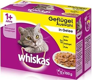 Whiskas 1+ Geflügelauswahl in Gelee Katzenfutter nass 12x 100 g