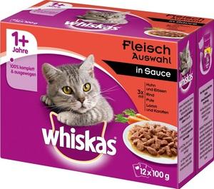Whiskas 1+ Fleischauswahl in Sauce Katzenfutter nass Multipack 12x 100 g