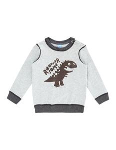 Baby Strickpullover mit Dinosaurier-Flockprint