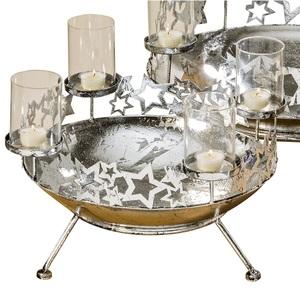 BOLTZE Adventskranz /Kerzenleuchter Ø 44 cm SKY Silberfarbig