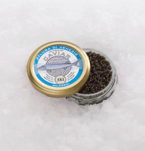 Altonaer Kaviar Import Haus             Beluga x Siberian di Venezia pasteurisiert im Glas mit goldenem Deckel