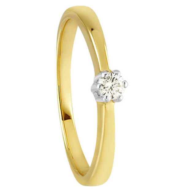 Moncara             Diamant-Ring Gold 375, zus. ca. 0,10 ct.